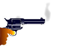 Smoking Gun. A revolver pistol with rising smoke as recently being fired Stock Image