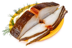 Smoking halibut  with lemon Stock Photos