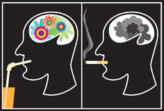 Smoking - a harm!. Two silhouettes of the head, symbolizing harm from smoking Royalty Free Stock Image