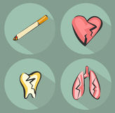 Smoking harm icons and cigarette icon. Suffering heart, lungs and tooth. Vector illustrations set in retro modern style.  Royalty Free Stock Photography