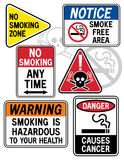Smoking Hazard Signs 1. A new twist on some old signage: Collection #1 of six No Smoking signs Stock Photos