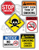 Smoking Hazard Signs 2. A new twist on some old signage: Collection #2 of six No Smoking signs Royalty Free Stock Photo
