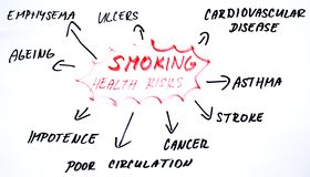 Smoking health risks diagram. Word cloud on smoking health risks Royalty Free Stock Image