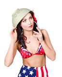 Smoking hot American military pin-up girl Royalty Free Stock Photography