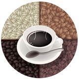 Smoking Hot Coffee with Roasted Coffee Beans Stock Photo