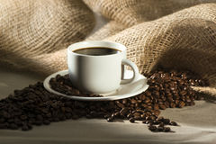 Smoking hot cup of coffee Royalty Free Stock Images