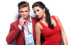 Smoking hot fashion couple looking at the camera Stock Photography