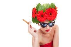 Smoking hot young woman Royalty Free Stock Photos