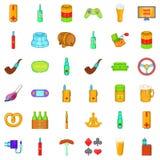 Smoking icons set, cartoon style. Smoking icons set. Cartoon style of 36 smoking vector icons for web isolated on white background Royalty Free Stock Photos