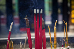 Smoking Incense Sticks Buddhist Temple China Royalty Free Stock Images