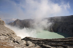 Smoking Kawa Ijen Stock Photography