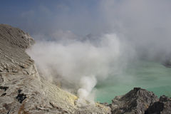 Smoking Kawa Ijen Stock Photo
