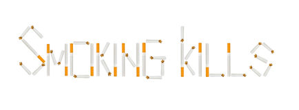 Smoking kills. The inscription of the broken cigarette on a white background Stock Photos