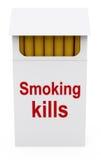 Smoking kills on Cigarettes Packet. 3d illustration Stock Images