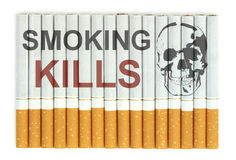 Smoking kills. Conceptual image with skull on Cigarettes Royalty Free Stock Photography