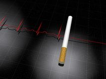 Smoking kills. Idea where a cigarette blocks the otherwise normal Cardiogram Royalty Free Stock Photography
