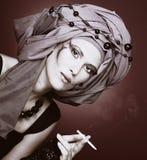 Smoking lady Royalty Free Stock Images