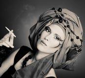 Smoking lady Stock Image