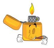 Smoking lighter cartoon Stock Image