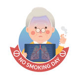 Smoking Lung Problem with No Smoking Day Sign Royalty Free Stock Images