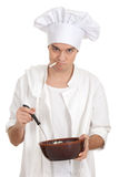 Smoking male cook with brown bowl Royalty Free Stock Images