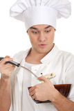 Smoking male male cook with brown bowl Royalty Free Stock Photo
