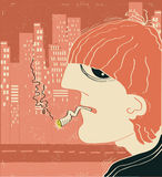 Smoking man in big city Stock Images