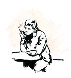 Smoking man in cafe with coffee cup and cigarette, sketch. Stock Photos