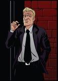 Smoking Man On A Brick Wall Background. Stock Photos
