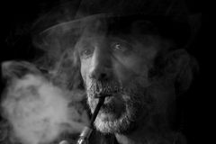 Smoking man portrait Royalty Free Stock Photo