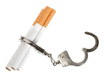 Smoking manacles dependency. Cigarette isolated on white background . Smoking manacles dependency Royalty Free Stock Image