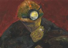 Smoking miner in a helmet. Coal mine. Colliery. stock illustration