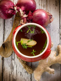Smoking miso soup with ginger Royalty Free Stock Photos