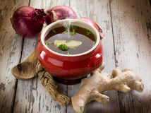 Smoking miso soup with ginger Royalty Free Stock Image