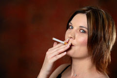 Smoking model Royalty Free Stock Image