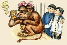 Smoking monkey. Cartoon comic illustration of smoking cigarette monkey Royalty Free Stock Images