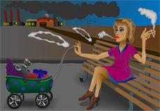 Smoking mother and a baby on the background of the Royalty Free Stock Image