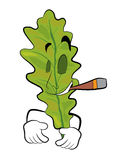 Smoking Oak leaf cartoon Stock Photo