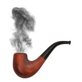 Smoking pipe with gray smoke on the white background.  Royalty Free Stock Image