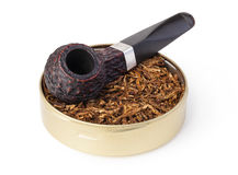 Smoking pipe and tobacco Stock Photo