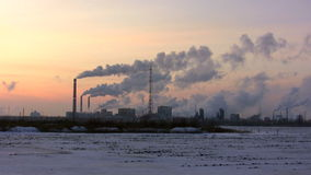 The smoking pipes of chemical plant stock footage