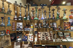 Smoking pipes and hookah shop Stock Photography