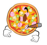 Smoking Pizza cartoon Royalty Free Stock Photos