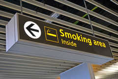 Smoking place sign, airport bigboard, Stock Image
