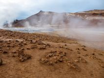 Iceland - Smoking hot pots at the geothermal activie region of Hverir