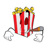 Smoking Pop corn cartoon Royalty Free Stock Photos