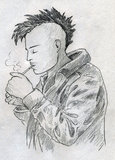 Smoking punk sketch. Young punk with mohawk haircut lighting a cigarette. Pencil drawing, sketch Royalty Free Stock Image