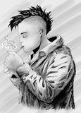 Smoking punk sketch. Young punk with mohawk haircut lighting a cigarette. Digital drawing Stock Photos