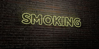 SMOKING -Realistic Neon Sign on Brick Wall background - 3D rendered royalty free stock image Stock Photos