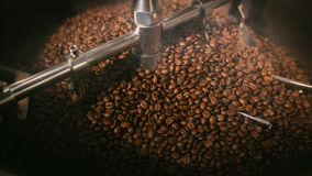 Smoking roasted coffee beans Stock Photography